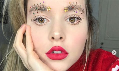 Images Of Christmas Eyebrows | christmas tree eyebrows are here because ig ran out of