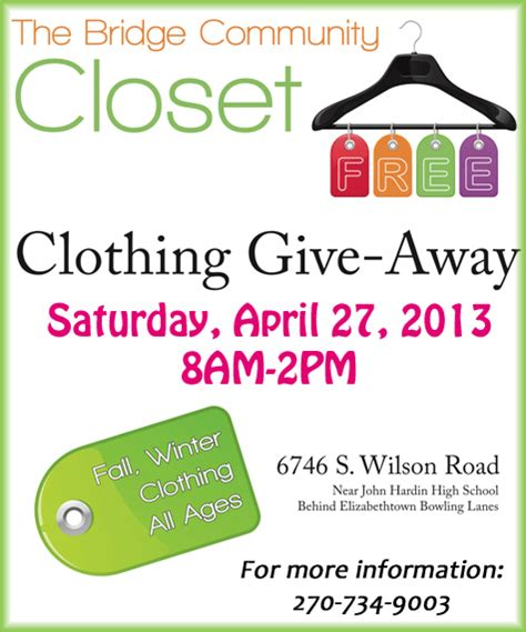Church Giveaway Ideas - clothing giveaway the bridge community closet