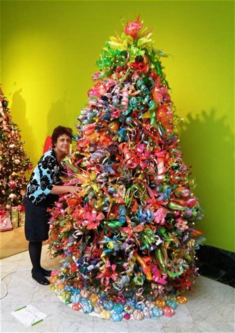 a christmas tree made entirely out of plastic bottles