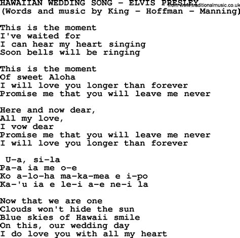 Wedding Song Elvis by Hawaiian Wedding Song By Elvis Lyrics