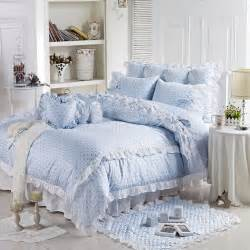 Pale Blue Bedding Sets Aliexpress Buy Light Blue Ruffles Bedding 4pcs Set