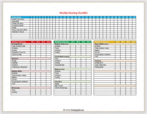 weekly checklist template weekly cleaning checklist for word list templates