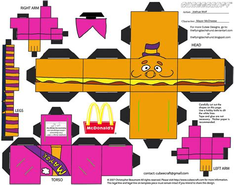 Mc Papercraft - adv ch 3 mayor mccheese cubee by theflyingdachshund on