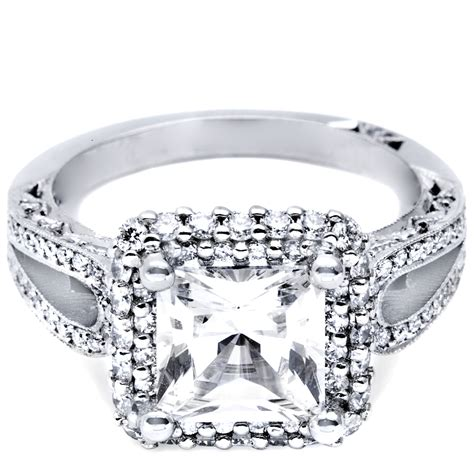 halo ring two carat princess cut halo ring