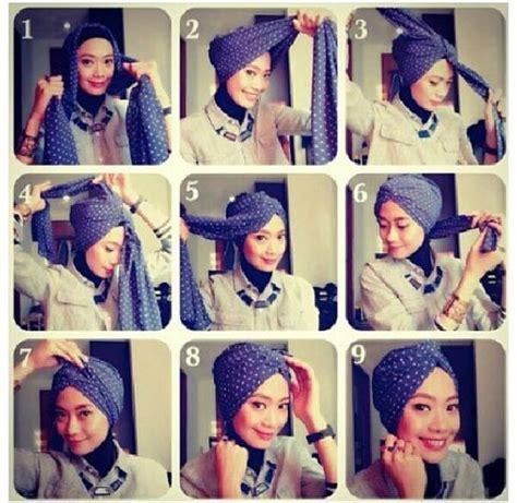 tutorial turban pashmina motif tutorial hijab turban bisa dikreasikan untuk ke kantor