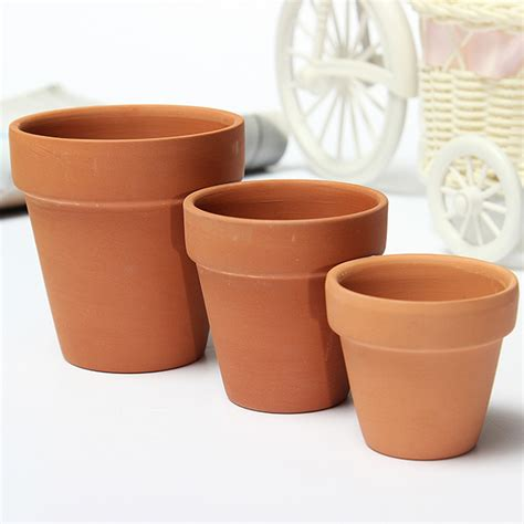 Red Ceramics Terracotta Flower Pot Clay For Small Plants Small Planter Pots