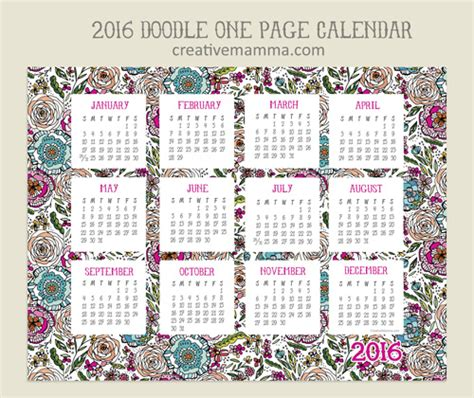 calendrier doodle calendar 2016 free printable calendar 3 to choose from