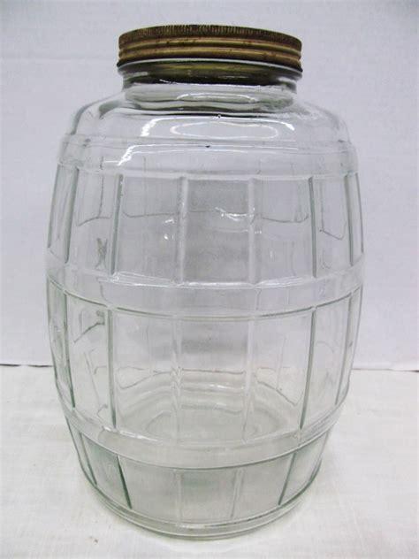large glass jars vintage large glass pickle barrel jar 13 quot