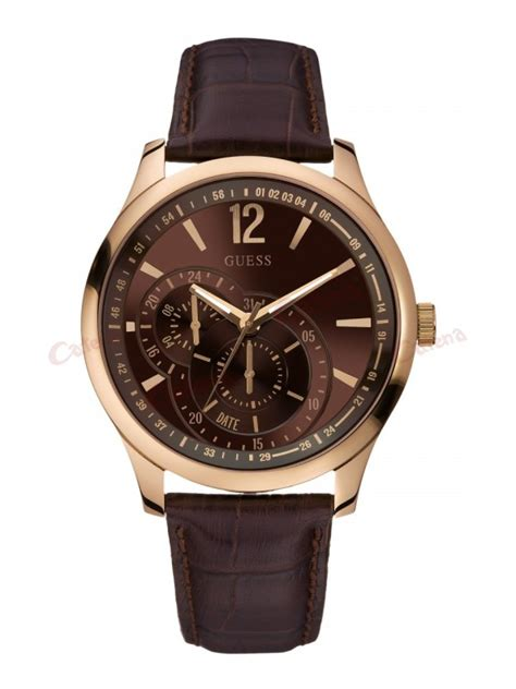 Gc 23006 Rosegold Brown Leather guess gold brown leather w95086g1