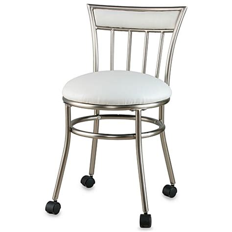 vanity chair with casters spa vanity stool with casters bed bath beyond
