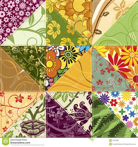 Patchwork Flowers - flower patchwork royalty free stock photos image 7337898