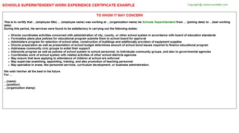 Work Experience Application Letter For School School Headmistress School Principal Work Experience Letters