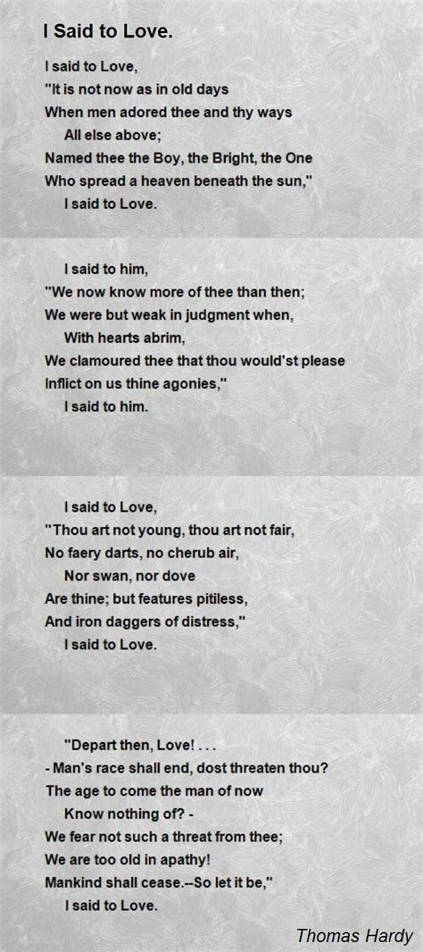 poem for i said to poem by hardy poem