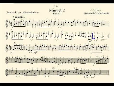 Minuet 1 Violin Suzuki Partitura Minuet 2 N 186 14 J S Bach M 233 Todo De Viol 237 N Suzuki