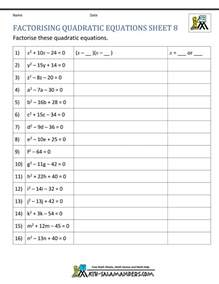 factoring quadratic equations