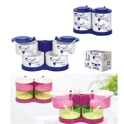 Tempat Bumbu Putar 4 In 1 Seasoning Jar Set Bumbu Warna jual beli ks084 4in1 seasoning spice jar tempat