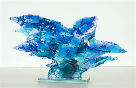 blue artist blue bird glass fusing abstract glass sculpture daan lemaire wikiart org