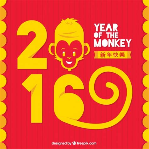 new year monkey free vector monkey new year background in yellow and color vector