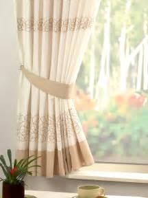 Retro natural cream embroidered kitchen curtain curtains uk