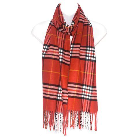 mens tartan check soft neck shawl stole wrap