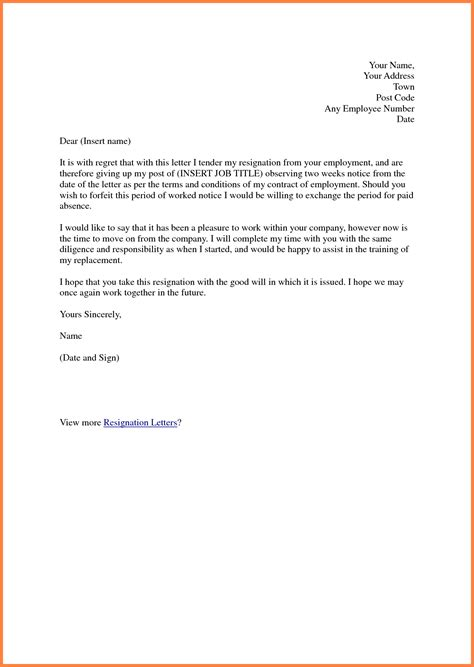 Resignation Letter Closing by 8 Formal Two Week Notice Notice Letter