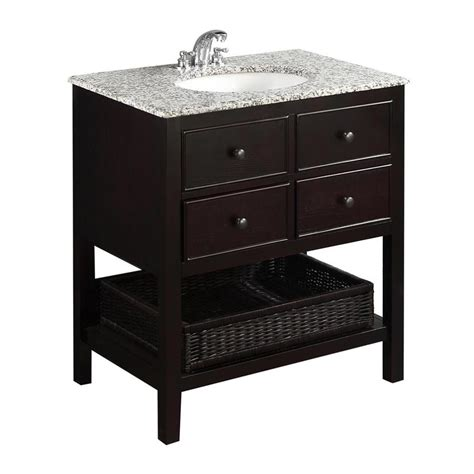 Bathroom Vanity With Granite Top Shop Simpli Home Burnaby Espresso Undermount Single Sink