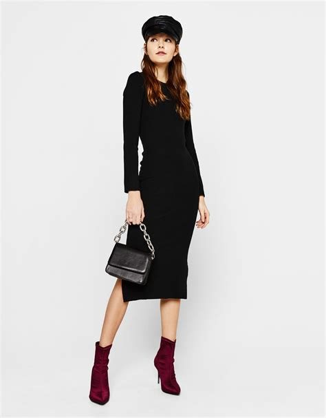 avondjurk bershka zwarte tricot jurk populaire jurken uit de hele wereld