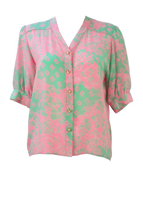 Pink Abstract Pattern S M L Jumpsuit 44246 silk sleeve blouse with mint green pink floral pattern m l vintage