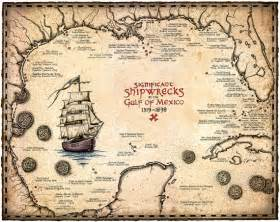 treasure maps florida shipwreck map of the gulf of mexico artwork 15 x 19