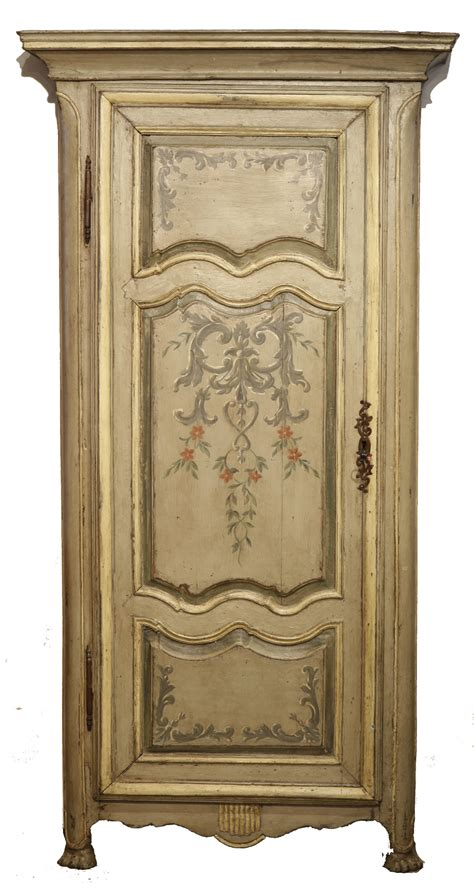 18th century antique painted armoire wardrobe
