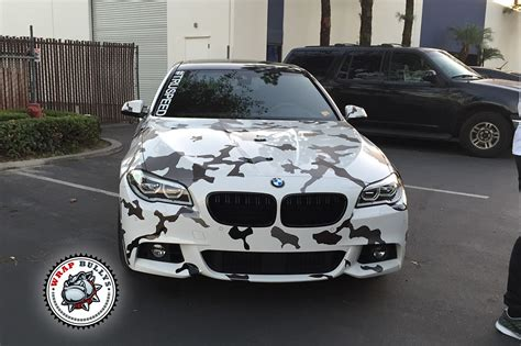 custom white bmw bmw wrapped in 3m snow white camo car wrap wrap bullys