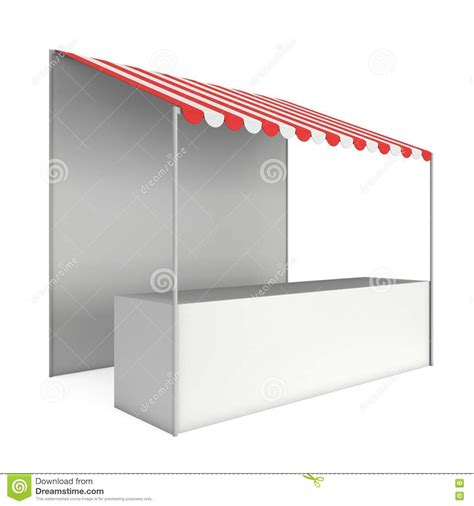 Red Awning White Showcase With Red Awning Cartoon Vector
