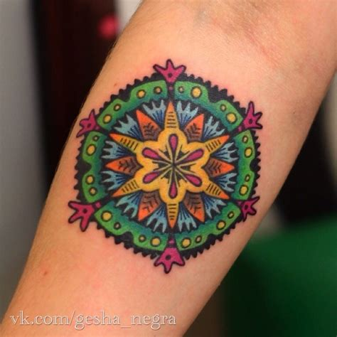 small colorful flower tattoos small style colored ornamental flower on