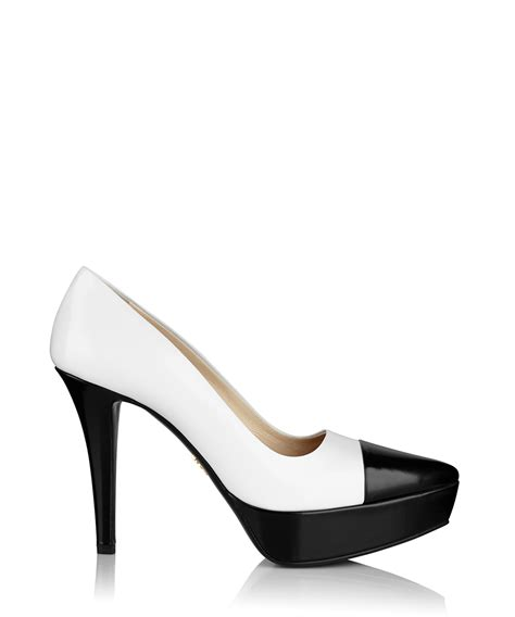Prada Details Another Heel by Prada Black And White Leather High Heels Designer