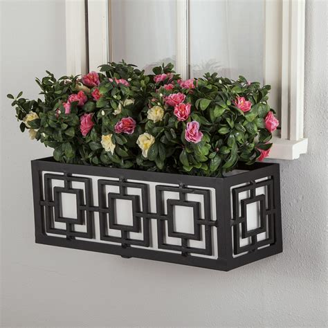 aluminium window boxes geometric metal flower boxes planters hooks lattice