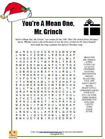 free printable christmas word search middle school you re a mean one mr grinch word search christmas