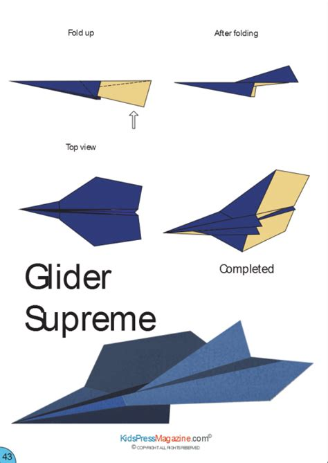 printable paper airplane folding directions paper airplane instructions glider supreme