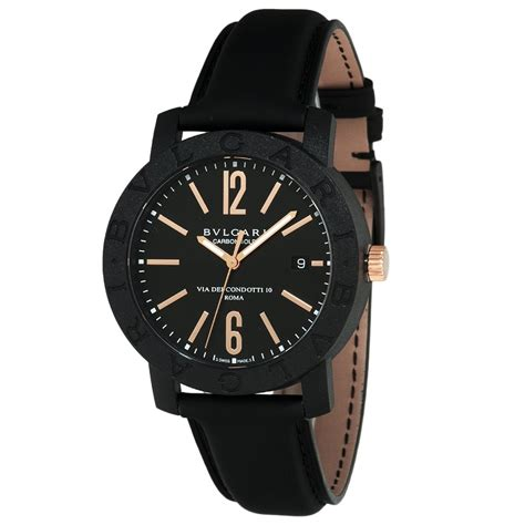 bulgari bulgari 40mm carbon gold black leather