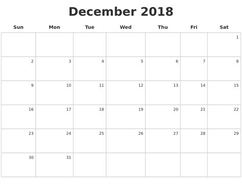 make a calendar december 2018 december 2018 make a calendar