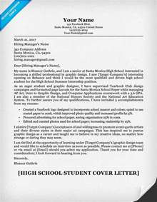cover letter for a school high school student cover letter sle writing tips