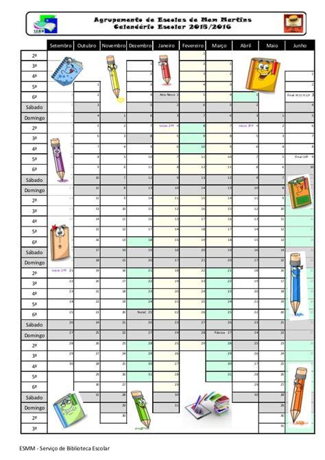 Calendario 2015 Escolar Calend 225 Escolar 2015 2016