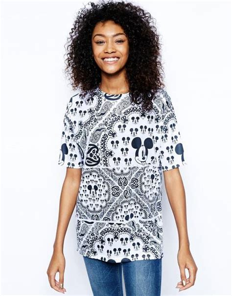 asos tunic with all mickey mouse print in black blackwhite lyst