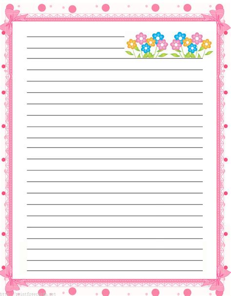 lined paper with plant border elegant floral free printable stationery for kids primary