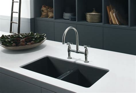 Black Sink White Countertop by Composite Kitchen Sinks Kblack And White Kitchen Themed