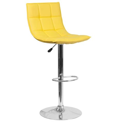 Yellow Stools by Flash Furniture Adjustable Height Yellow Cushioned Bar
