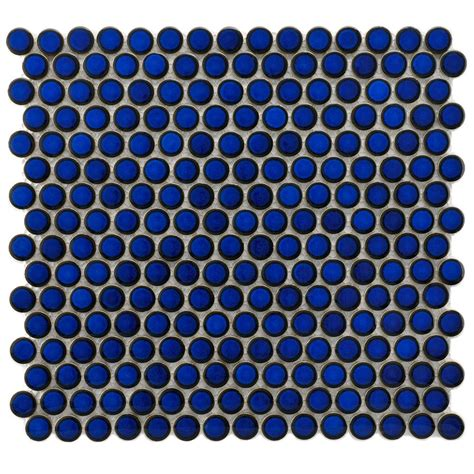 Home Depot Tile For Bathroom by Merola Tile Hudson Penny Round Blue Eye 12 In X 12 5 8 In