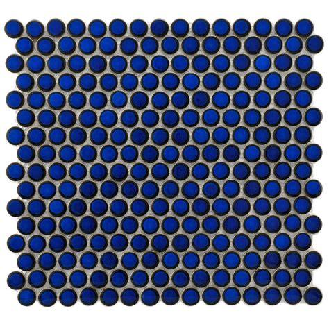 Merola tile hudson penny round blue eye 12 in x 12 5 8 in x 5 mm porcelain mosaic tile 10 2