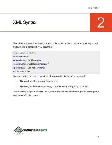 xml pattern or xml tutorial