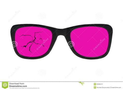 Pink And Black Glasses broken pink glasses in black frame isolated stock image
