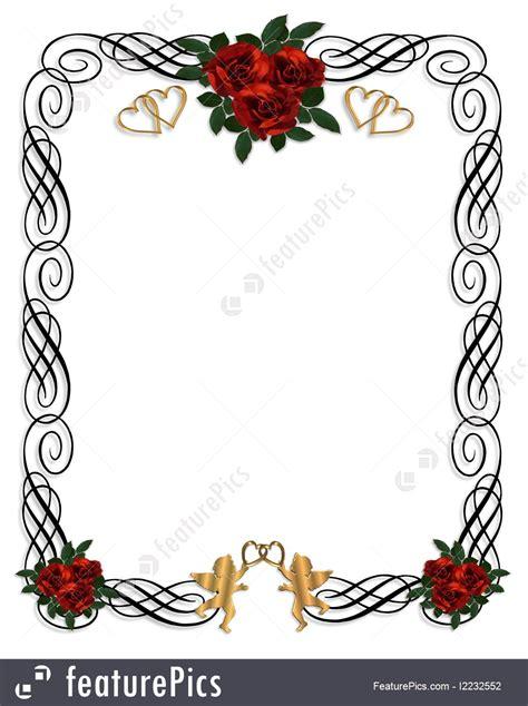 Red Roses Wedding Invitation Illustration
